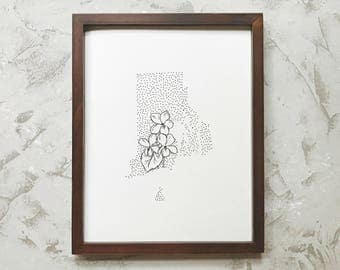 Rhode Island> Violet> State Flower Drawing> Giclee Print