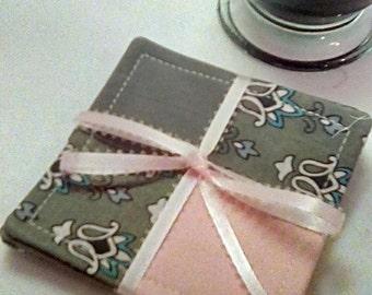 Mug Rug SET of 4, Pink and Gray,  Fabric Coasters, Handmade, Hostess Gift, FREE Shipping in US