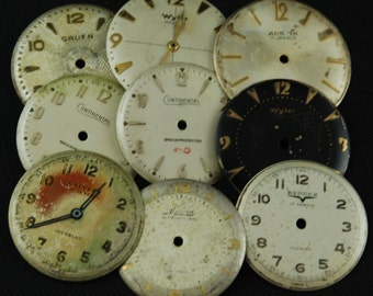 Vintage Antique Watch Dials Steampunk  Faces Parts Altered Art Industrial O 56