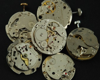 Vintage Antique Industrial Looking Watch Movements Steampunk Altered Art Assemblage DI 94