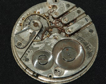 Gorgeous Vintage Antique Pocket Watch Movement Steampunk Altered Art Assemblage S 87