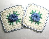 Vintage Potholders Set Pot Holders Irish Crochet Large Raised Rosettes Roses Hand Crocheted Blue White Kitchen Cottage Decor 1950's 1960's