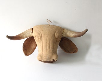 Handmade Wooden Cow Head w/ Steer Horns