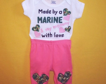 Marine Baby Girl Pants Set, Baby Girl Marine Outfit, Marine Bodysuit and Pants Set, Made By A Marine, Baby Girl Clothing