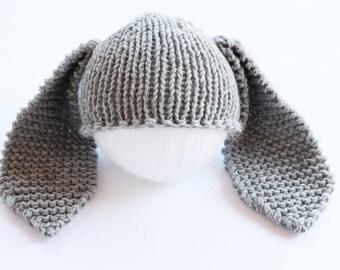Bunny beanie, grey, bunny beanie hat, baby hat, grey bunny hat, bunny hat, rabbit hat, bunny baby hat, easter bunny baby, bunny costume