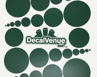 Dark Green Polka Dot Circles Wall Decals - Various sizes - Mix and Match dots vinyl stickers