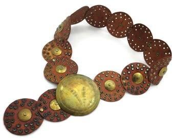 Boho Leather Medallion Belt - Etched Brass Buckle and Grommets Belt