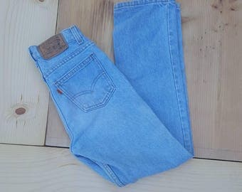 Vintage Kids Jeans  // Vtg 70s 80s Child Sized LEVI'S Made in the USA Distressed Slim Fit Light Wash Denim Jeans