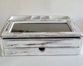 Hand Painted White Distressed  Valet Jewelry Box Phone Charger Station Desk Organizer