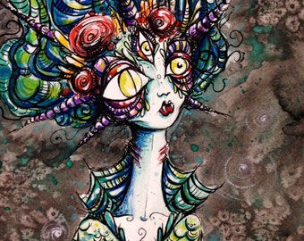 Vampiric Mermaid original pen and ink drawing and Watercolor painting