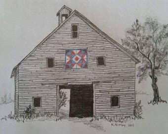 Artist NOTECARDS hand drawn graphite digital print package of 10 Country Barn Quilt Series