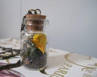 Tiger's Eye Faerie Pixie Terrarium Necklace Flowers Gemstone