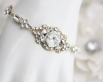 Gold Crystal Bridal Bracelet Wedding Jewelry Swarovski Crystal Bracelet Delicate Wedding Bracelet ESTELLA Deluxe Gold Bracelet