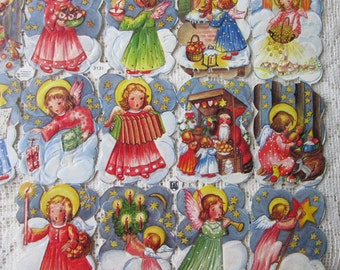 Vintage EAS Scraps Made In Western Germany Christmas Angels EAS 3131