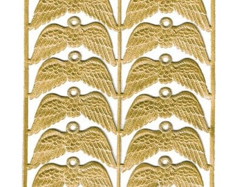 Dresden Germany 12 Small Gold Paper Foil Die Cut Angel Wings With Hanger  DFW786G