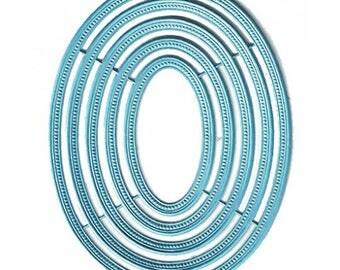 Dresden Frames Germany 5 Light Blue Paper Foil Oval Embossed Die Cuts  DFW40LB