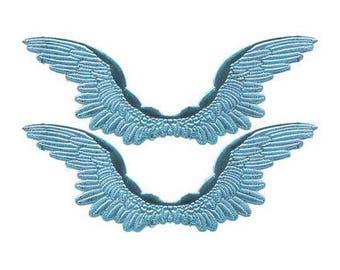 German Dresden Trim 6 Light Blue Angel Wings Die Cut Paper Foil DF7217LB