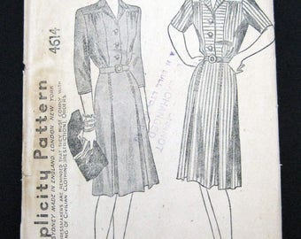 4514 Simplicity 1940s sewing pattern non printed pattern Misses dress size 18