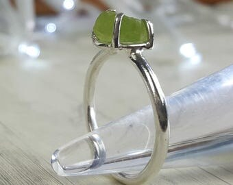 Raw peridot ring, sterling silver and rough peridot, prong set, claw set silver ring with green gemstone, August birthstone, birthday gift