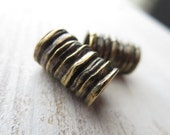 Metal casting beads ridged  tube barrel  rustic , large hole , antiqued brass finish 10 x 16mm ( 2 beads)  - 2as4641b