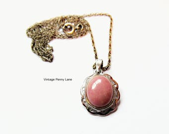 Vintage Signed Bond Boyd Chain Necklace, Sterling Silver, Pink Gemstone Pendant