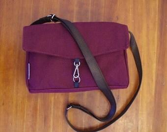 Burgundy Zip Top Canvas Cross Body Water Repellent Handbag