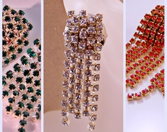 Statement Rhinestone Chain Earrings - Green -  Clear - Red Austrian Crystal - Dangling Fringe - Bling - Glam - New Years - Clubbing