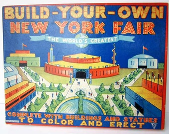 1939 World's Fair Boxed Toy, Game, Build Your Own New York Fair, 1938 Toycraft NY Child's Set in the Original Box, 1939 World Fair Graphics