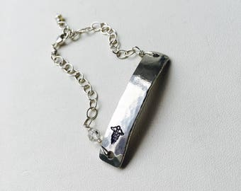Medical Alert Bracelet, Medical ID Bracelet, Silver Bar Bracelet, Personalized Bar Bracelet, Silver Bar Bracelet