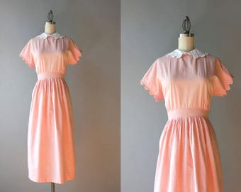 1940s Dress / Vintage 40s Pale Pink Scalloped Dress / 40s Cotton Chambray Scallop Collar Dress S small