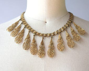 1930s Necklace / Vintage 30s Brass Book Chain Necklace / 30s Filigree Fan Brass Statement Necklace