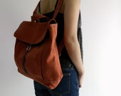 Tanya in Orange Pumpkin Backpack / Satchel Rucksack / Laptop bag  /Tote / Women/ Unisex  / School bag - Sale Sale Sale  30%