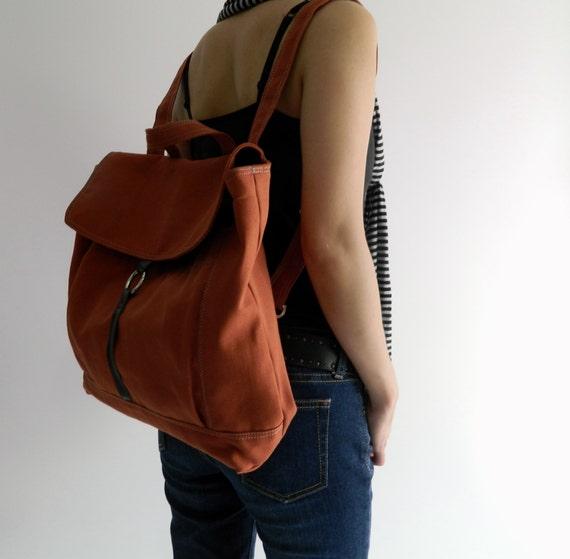 Tanya in Orange Pumpkin Backpack / Satchel Rucksack / Laptop bag  /Tote / Women/ Unisex  / School bag - Sale Sale Sale  30%