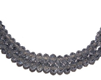 Chinese faceted glass crystal beads in transparent grey 3x4mm 75pcs
