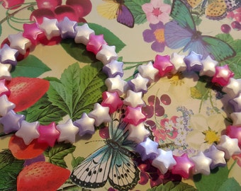 Two lilac, fushia and white star bead bracelets kawaii kandi rave