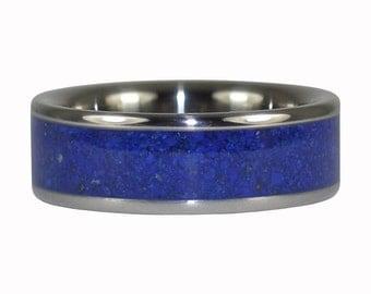 Lapis Inlay Dark Blue Gemstone Titanium Ring