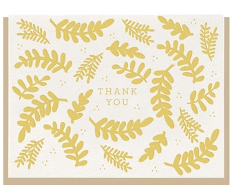 Letterpress 'Thank You Floral' Greeting