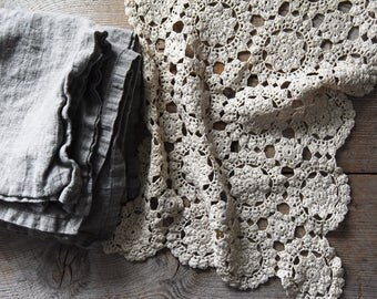 Antique Crochet Lace, Crochet Lace, Vintage Crocheted Lace Panel, Vintage Textile, Sewing Supplies, Crocheted Lace Doily, Table linens