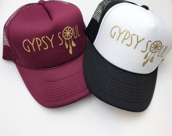 Trucker Hat, Gypsy Soul, Snapback, women's Cap, Gold, Maroon, Burgundy, Boho, Hippie, Dreamcatcher, Adjustable Hat.