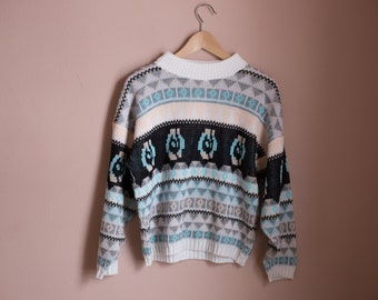 Vintage 90s Pastel Pattern Ugly Sweater- Size Medium/Large