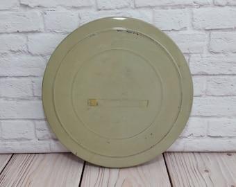 Vintage Metal Film Reel Canister Light Green Media Room Decor