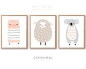 Baby Pig Print, Baby koala Print, Baby Sheep Print, Nursery animal print set, Kids room art, Nursery room Art, Baby room Decor