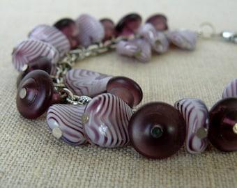 Purple Bead Charm Bracelet, Plum Glass Bead Dangles, Boho Jewelry, Fringe Cha Cha Bracelet, Summer Jewelry