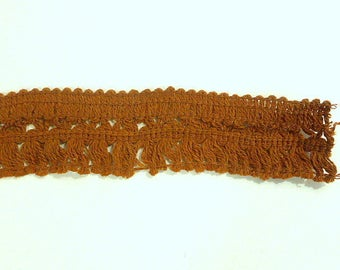 Vintage Brown Cocoa  Yarn Brush Fringe 1 3/4 inches wide x 3 yards  Boho 1960s-70s Fringe Trim Home Decor Trim Earthtone Costume Purse
