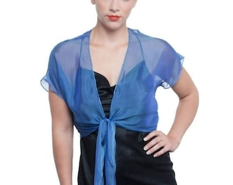 Promo Sale: Promo Sale - Royal Blue Evening Silk Chiffon Shrug GALA/ 2 Styles 100% silk Sizes XS - 2X