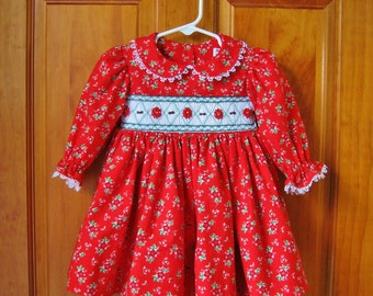 Baby girl Red smocked dress size 12 Mo. Christmas ready to ship Poinsettias Holiday dress Toddler dress OOAK Long sleeves Winter Handmade