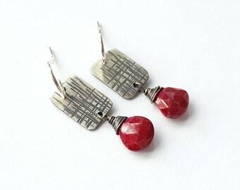 Sterling Silver Earrings Textured Strip Earrings Ruby Drop Earrings Red Earrings Oxidized Earrings Brushed Earrings