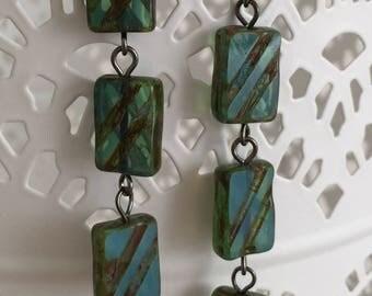 Green Tile Earrings