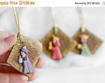 Three Wise Men Christmas Ornaments with Gold Glitter Ribbon. Colorful Handmade Nativity Scene Square Clay Christmas Holiday Gift Set of 3