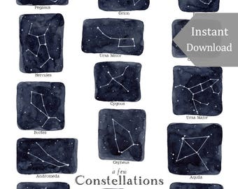 School Room Printable - Educational Art - 8x10 - A Few Constellations Print - Stars, Montessori, Educational, Astronomy, Nature Study